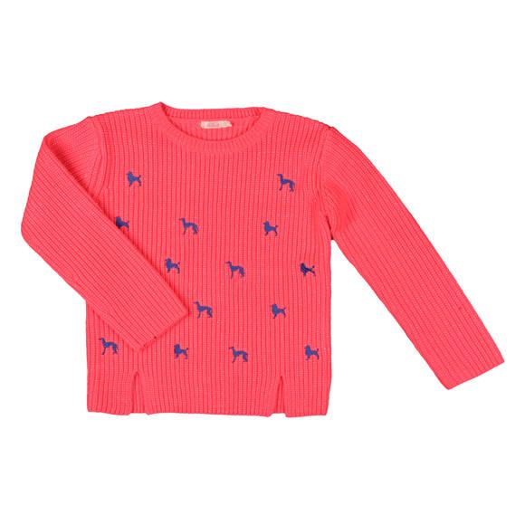 Billieblush Girls Pink Girls Embroidered Dog Jumper main image