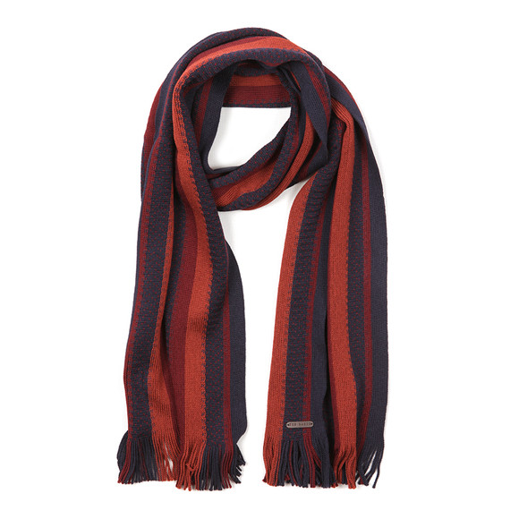Ted Baker Mens Blue Textured Striped Scarf main image