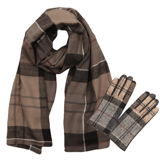 Barbour Lifestyle Womens Black Tartan Glove and Scarf Set main image