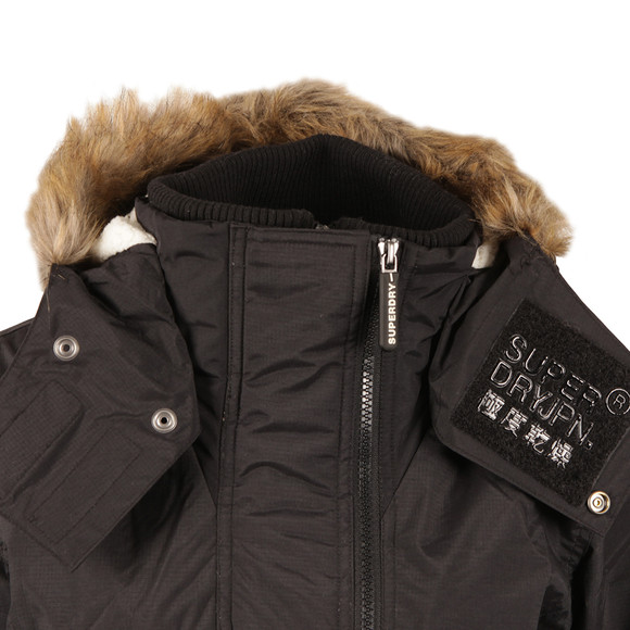 Superdry Womens Black Hooded Fur Sherpa Wind Attacker main image
