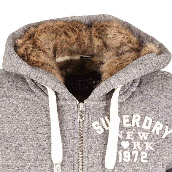 Superdry Womens Grey Fur Lined Applique Hoody main image