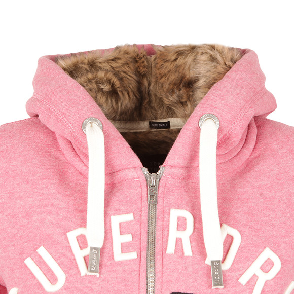 Superdry Womens Pink Fur Lined Applique Hoody main image