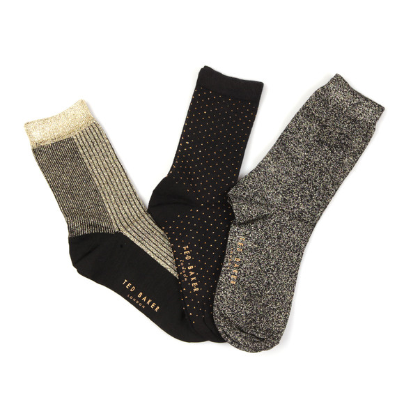 Ted Baker Womens Black Glintee Metallic Assorted Sock Pack main image
