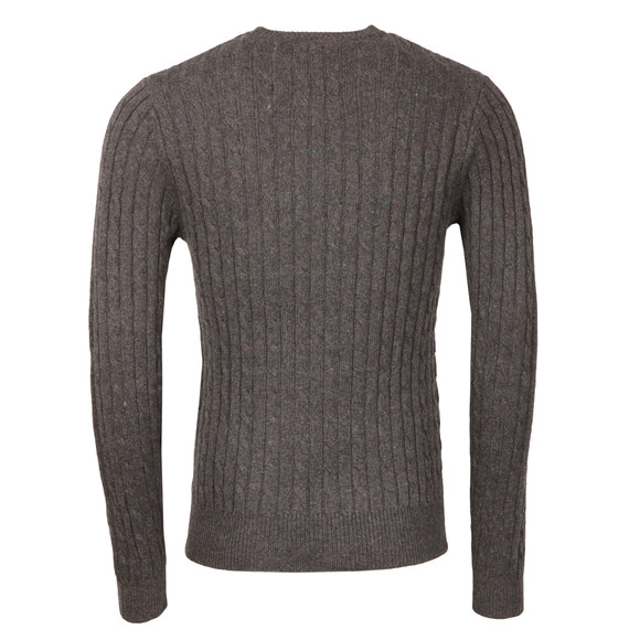 Luke Mens Grey Hortons Cable Crew Neck Jumper main image