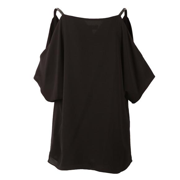 Michael Kors Womens Black Cowl Shoulder Embellished Strap Top main image