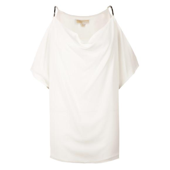 Michael Kors Womens Off-white Cowl Shoulder Embellished Strap Top main image