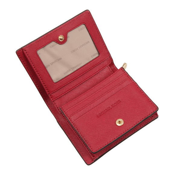 Michael Kors Womens Red Jet Set Travel Saffiano Leather Card Case main image