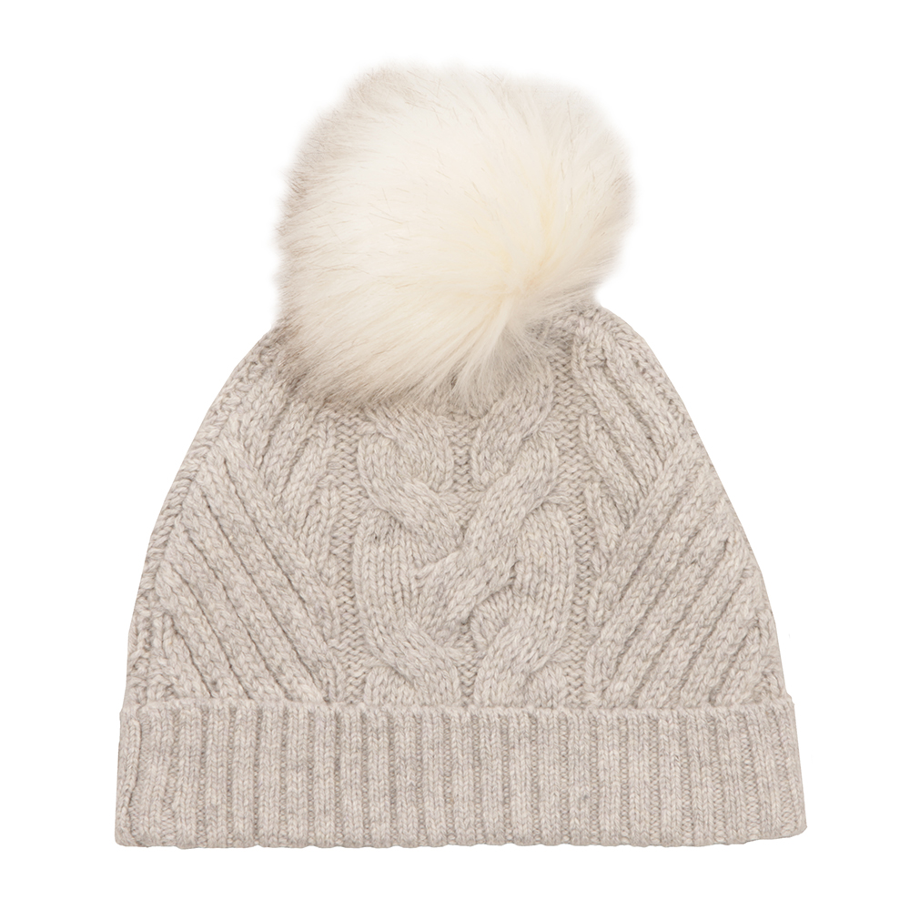 Lisabet Cable Knitted Hat With Pom Pom main image