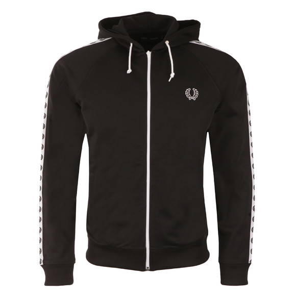 Fred Perry Mens Black Taped Hooded Track Jacket main image
