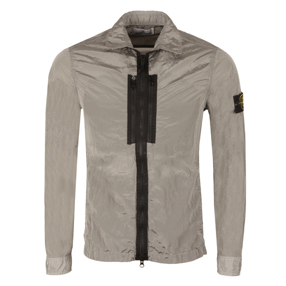 Stone Island Mens Grey Crinkle Zip Overshirt main image
