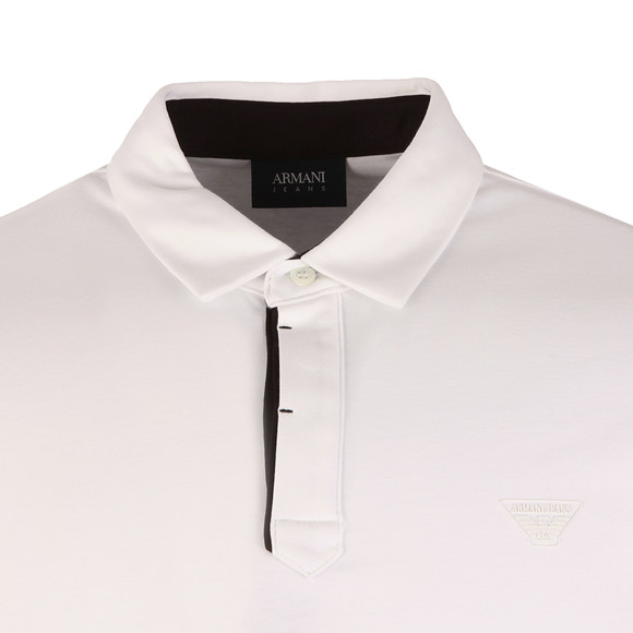 Armani Jeans Mens White Small Logo Jersey Polo Shirt main image