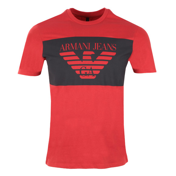 Armani Jeans Mens Red Large Logo T Shirt main image