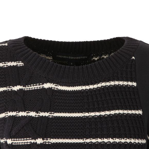 French Connection Womens Blue Cable Stripe Knit Jumper main image