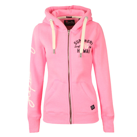 Superdry Womens Pink Applique Zip Hoody main image