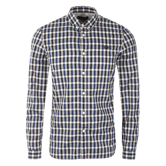 Fred Perry Mens Blue L/S Gingham Check Shirt main image