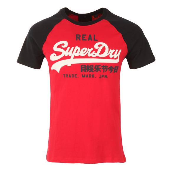 Superdry Mens Red S/S Vintage Logo Raglan Tee main image
