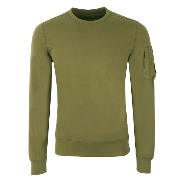 CP Company Mens Green Viewfinder Sleeve Crew Sweat main image