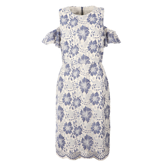 French Connection Womens Blue Antonia Lace Cold Shoulder Dress main image