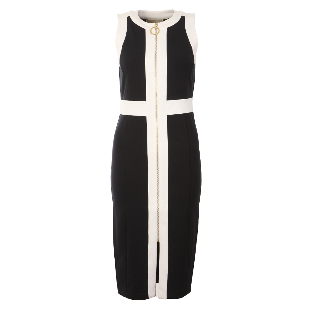 Sleeveless Contrast Zip Front Dress main image
