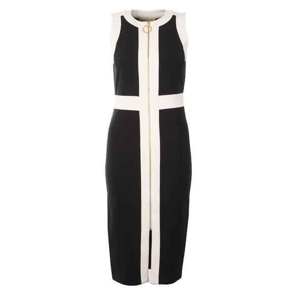 Michael Kors Womens Blue Sleeveless Contrast Zip Front Dress main image