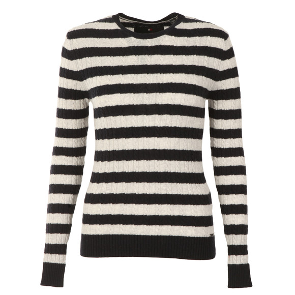Superdry Womens Blue Luxe Mini Cable Stripe Knit main image