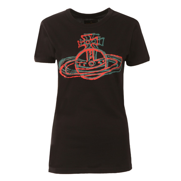Vivienne Westwood Anglomania Womens Black Cracked Orb T Shirt main image