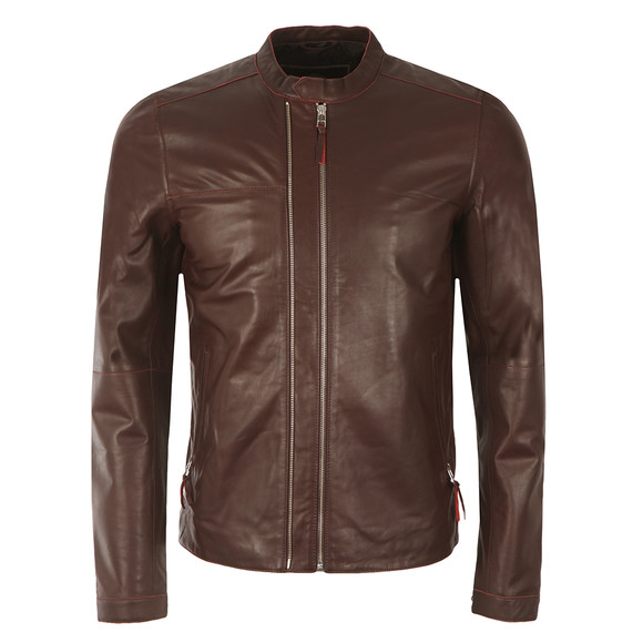 Pretty Green Mens Red Addison Leather Biker Jacket main image