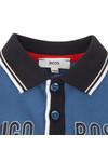 Boss Boys Blue Baby Logo Contrast Collar LS Polo Shirt