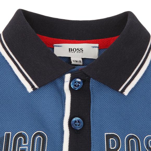 Boss Boys Blue Baby Logo Contrast Collar LS Polo Shirt main image