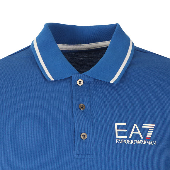 EA7 Emporio Armani Mens Blue Small Logo Pique Polo main image