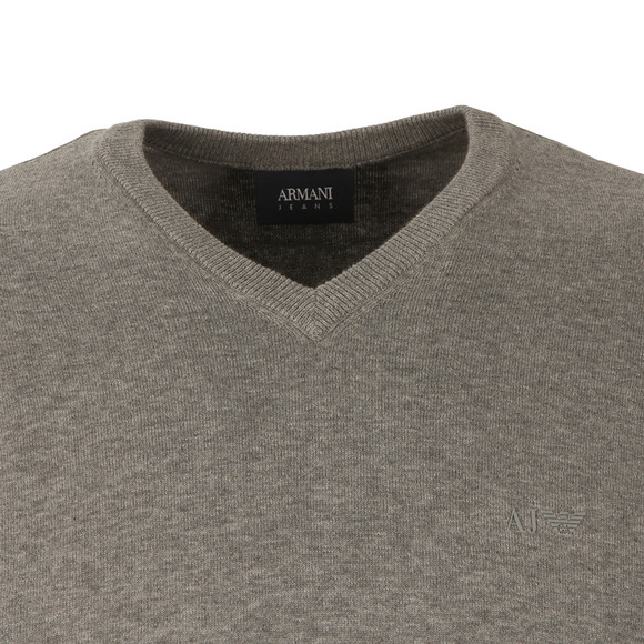Armani Jeans Mens Grey V Neck Small Logo Jumper main image