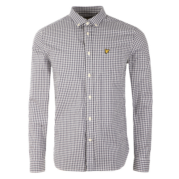 Lyle and Scott Mens Blue L/S Gingham Check Shirt main image