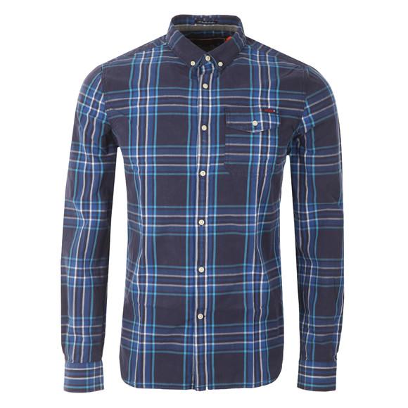 Superdry Mens Blue L/S Washbasket  Shirt main image