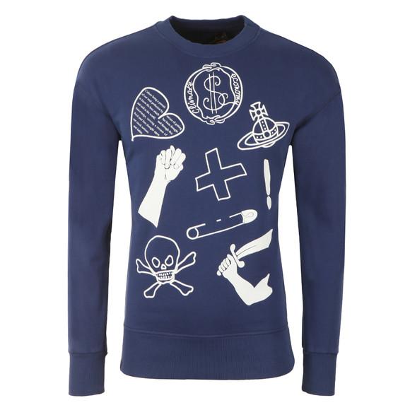 Vivienne Westwood Anglomania Mens Blue News Logo Mix Sweatshirt main image