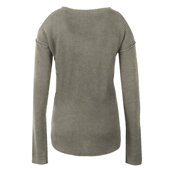 Superdry Womens Green Waffle Stitch Cold Shoulder Knit main image
