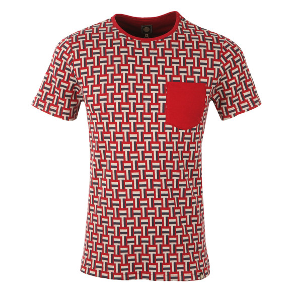 Pretty Green Mens Red Plecteom Jacquard SS T-shirt main image