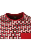 Pretty Green Mens Red Plecteom Jacquard SS T-shirt