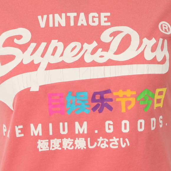 Superdry Womens Pink Premium Goods Rainbow Tee main image