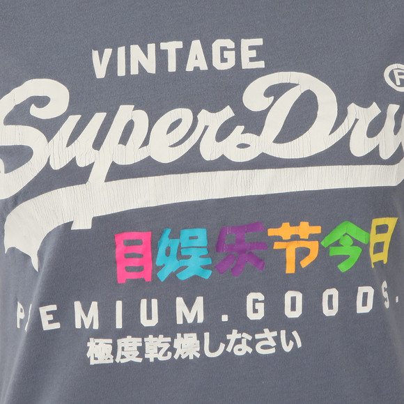 Superdry Womens Blue Premium Goods Rainbow Tee main image