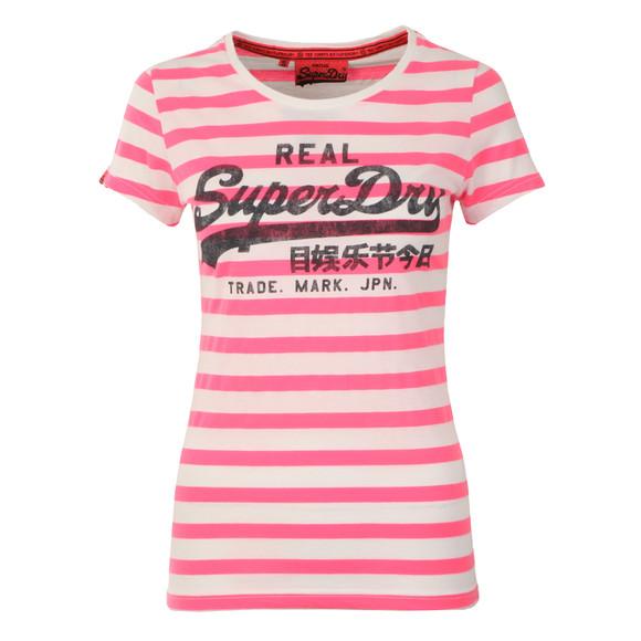 Superdry Womens Pink Vintage Logo Stripe Tee main image