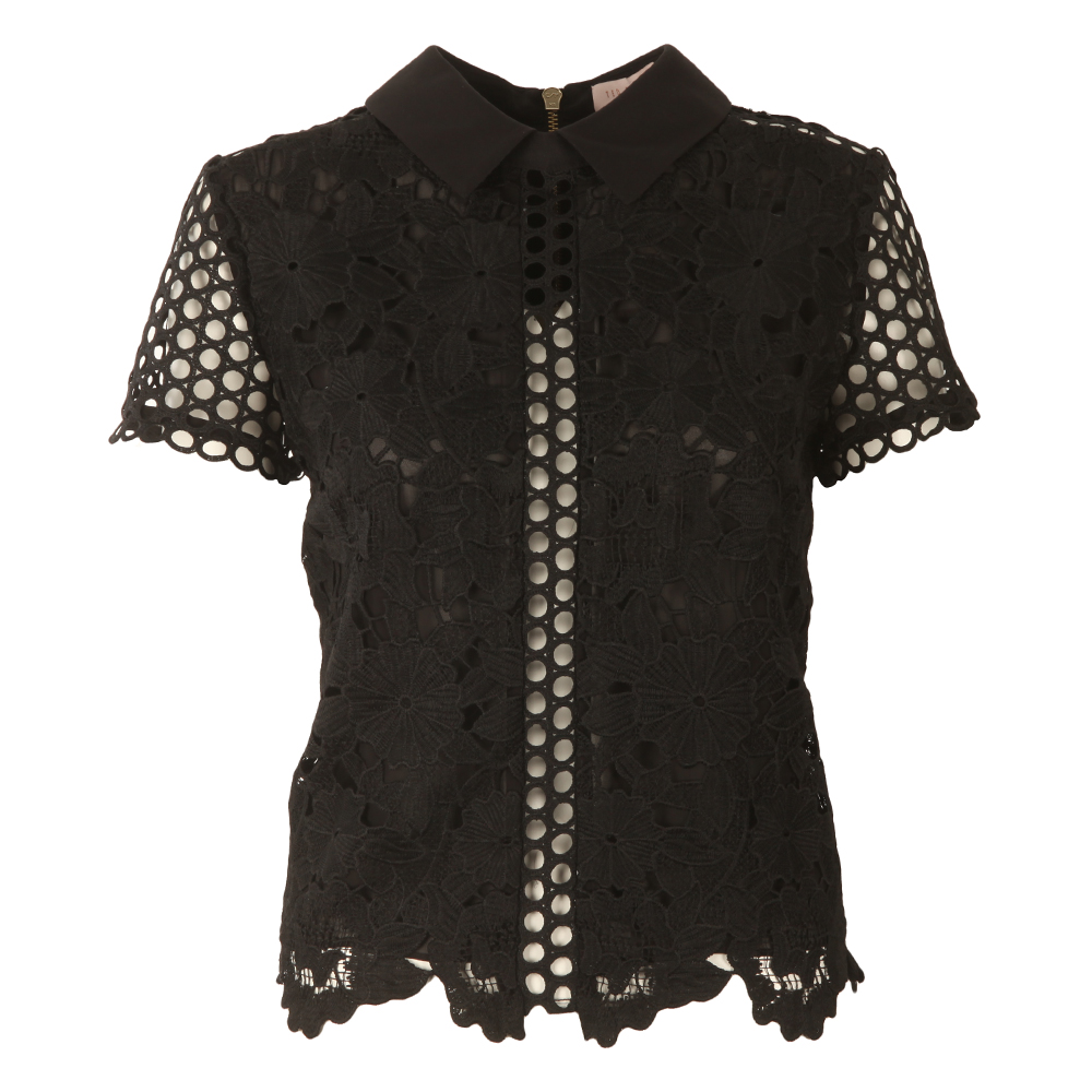 Beaux Mixed Lace Collar Crop Top main image