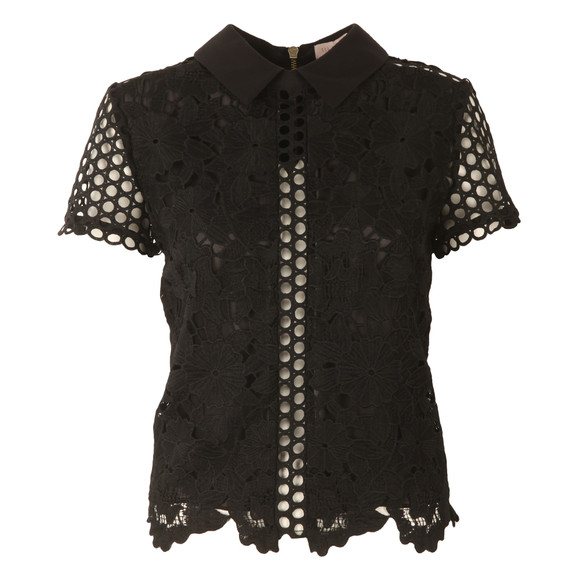 Ted Baker Womens Black Beaux Mixed Lace Collar Crop Top main image