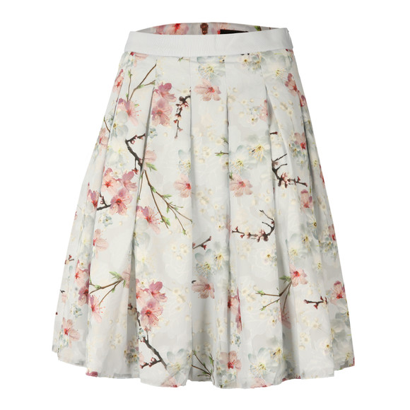 Ted Baker Womens Grey Tillye Oriental Blossom Burnout Skirt main image