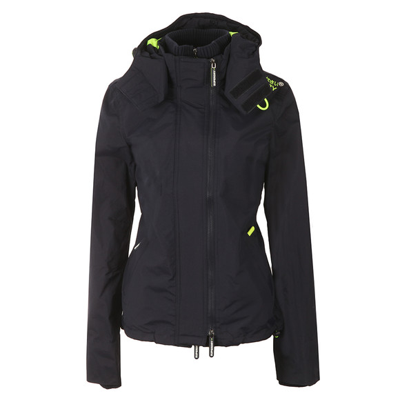 Superdry Womens Blue Tech Hooded Pop Zip Windcheater main image