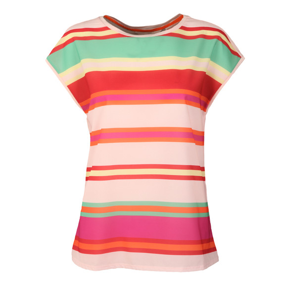 Ted Baker Womens Pink Thedre Pier Stripe Woven Front Tee main image