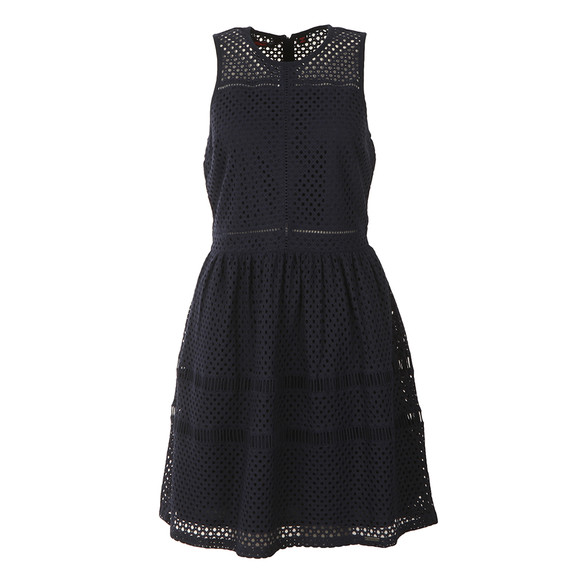 Superdry Womens Blue Geo Lace Mix Skater Dress main image