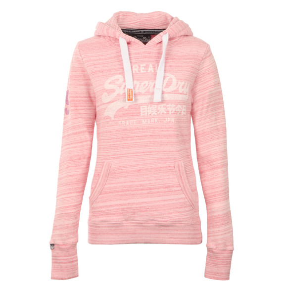 Superdry Womens Pink Vintage Logo Injected Jersey Hoody main image