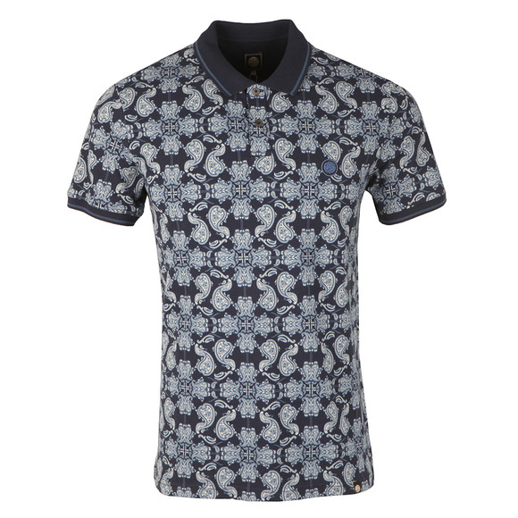 Pretty Green Mens Blue Palatine AOP Polo Shirt main image