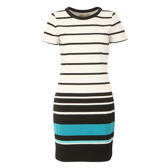 Michael Kors Womens White Stripe Ottoman T Shirt Dress main image