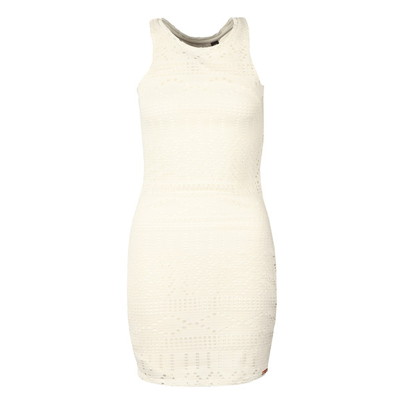 Superdry Womens White Crochet Knit Bodycon Dress main image